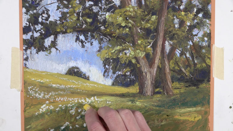 Adding flowers to the field with oil pastels