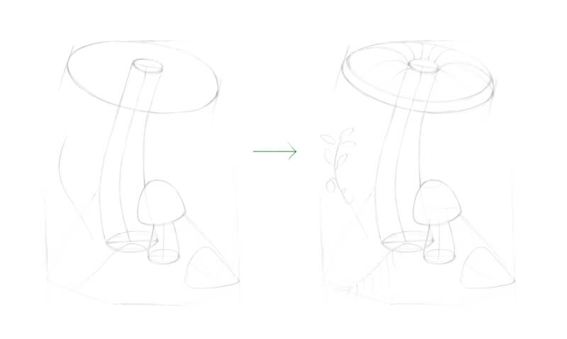 Drawing the graphite structure of the mushroom