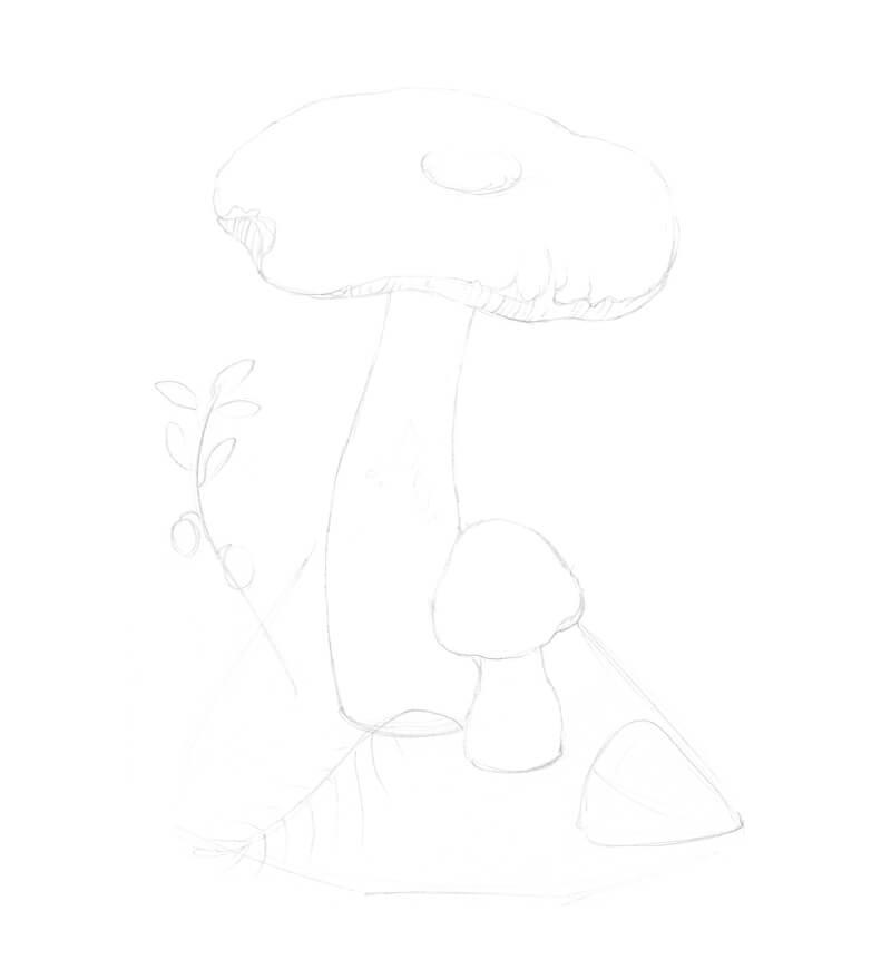 Refining the pencil sketch of a mushroom