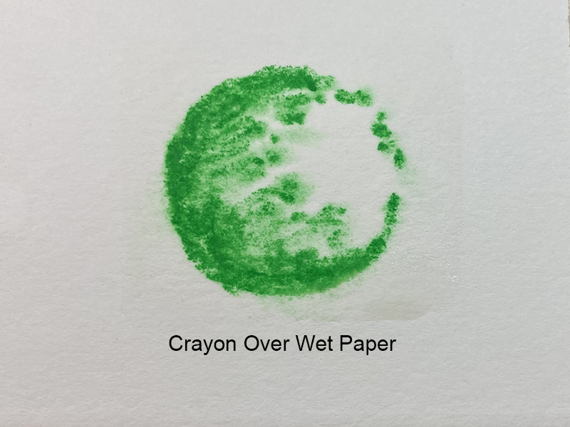 Comparing marks made with water soluble crayons