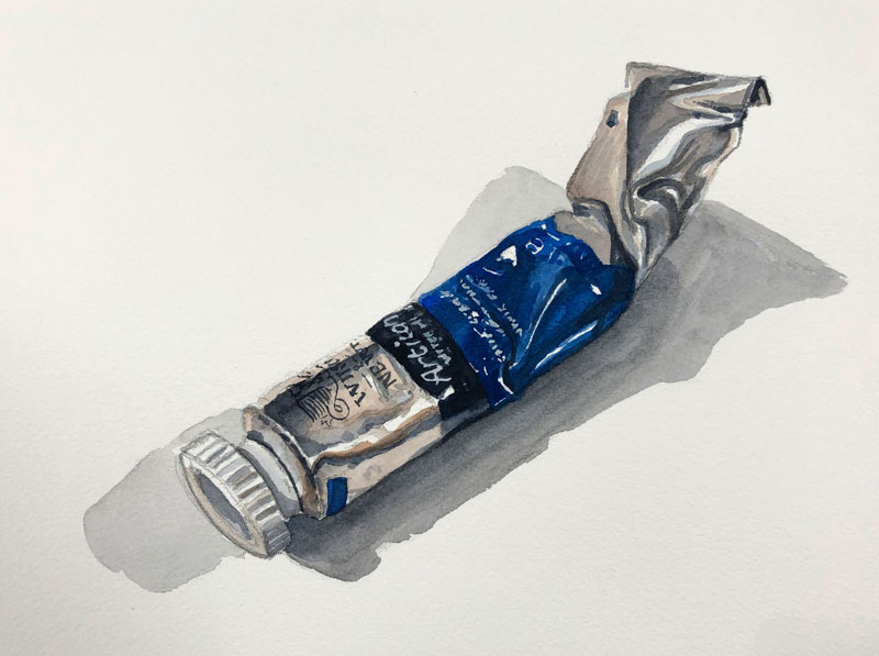 Watercolor painting of a paint tube