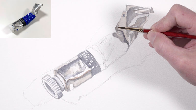 Painting warm grays on the paint tube
