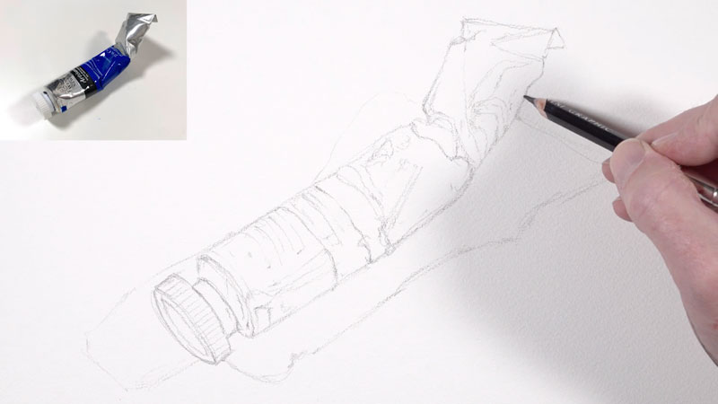 Pencil sketch of a paint tube for watercolor painting