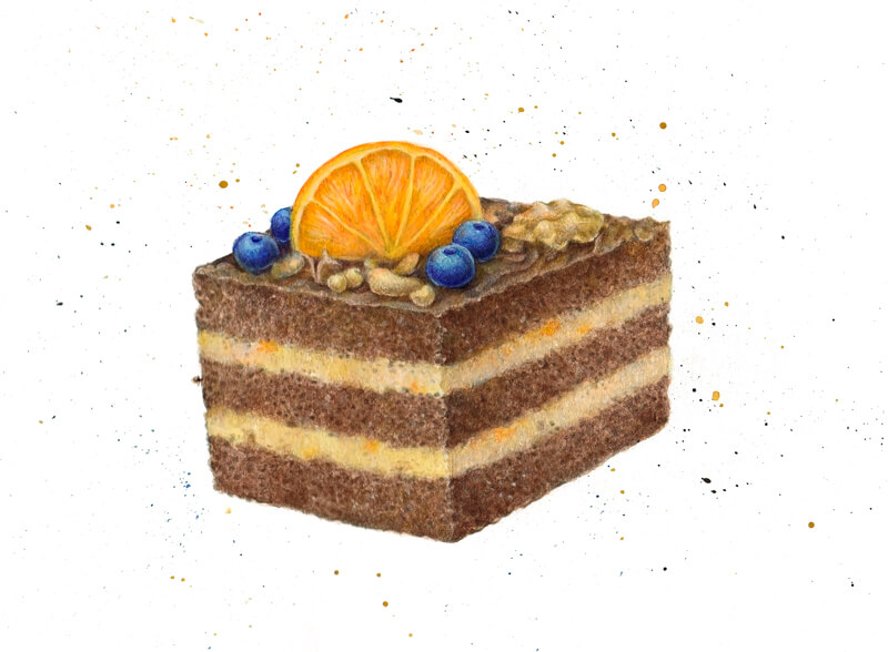 Drawing of cake with watercolor and colored pencils
