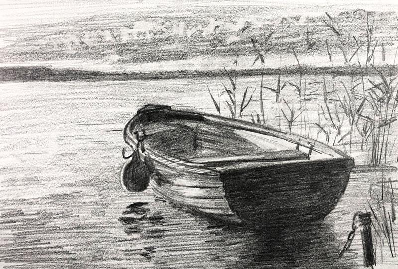 Pencil sketch of a Row Boat