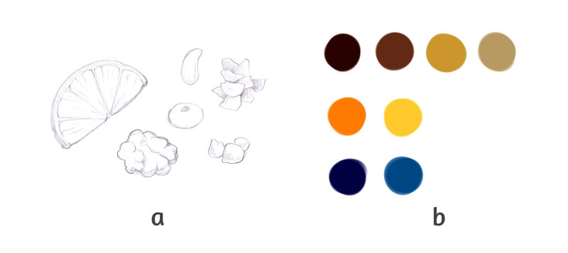 Color map of colors for the drawing of the cake