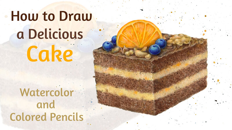 How to draw a piece of cake with watercolor and colored pencils