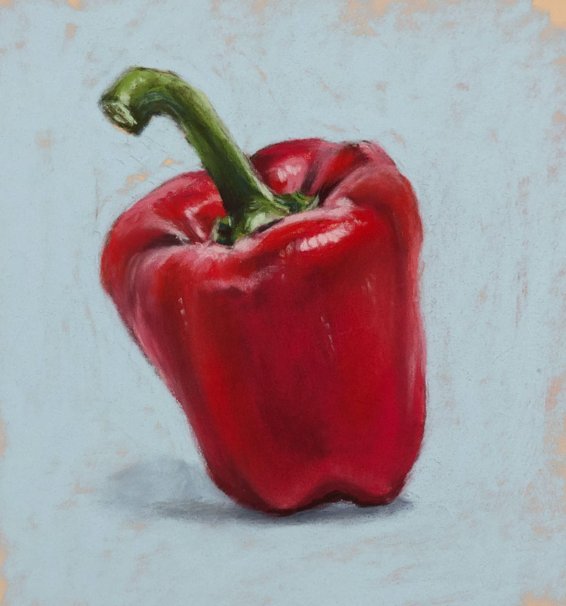 Pastel drawing of a red bell pepper