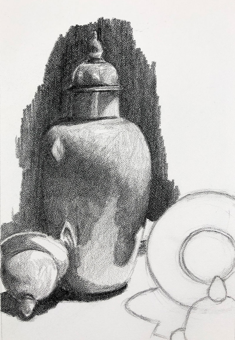 Graphite still life sketch stipple paper