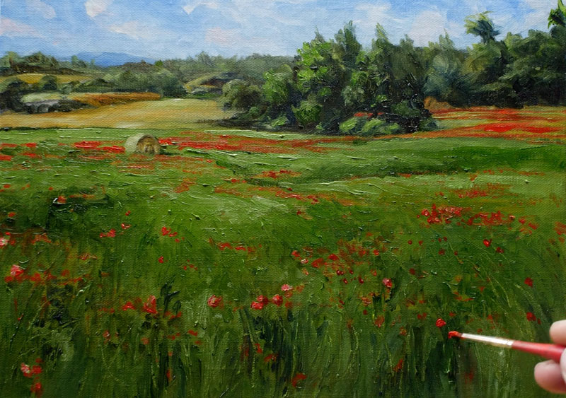Painting grass with oil paints