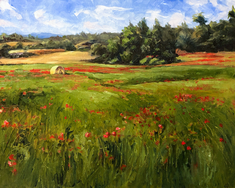 Oil painting of a field of red flowers