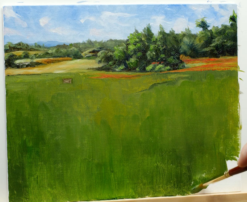 Painting distant trees and flowers on the right side of the picture plane and filling in the remainder of the canvas with color