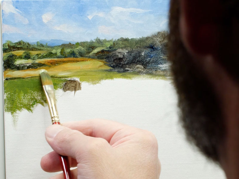 Painting distant trees and fields with water mixable oil paints