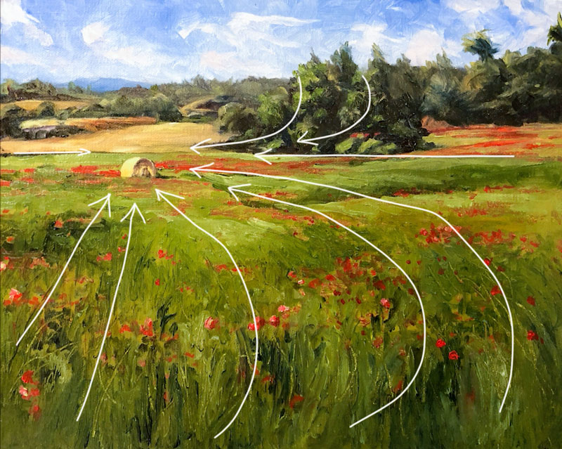 Developing a focal point in a landscape painting through guiding lines