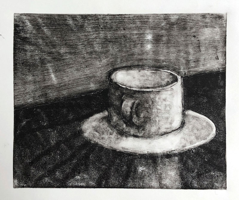 Monoprint of a coffee mug