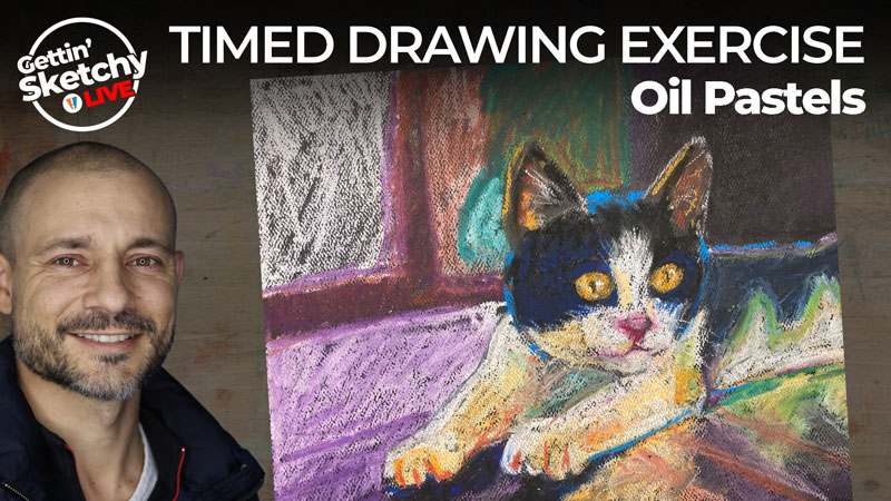 Colorful drawing of cat with oil pastels - timed drawing evercise