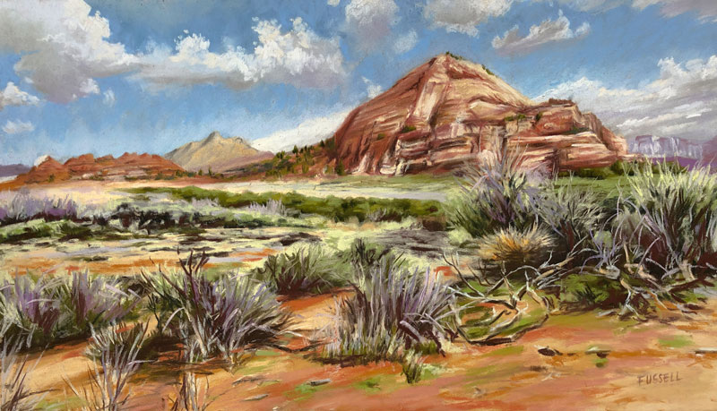 Desert landscape painting with pastels