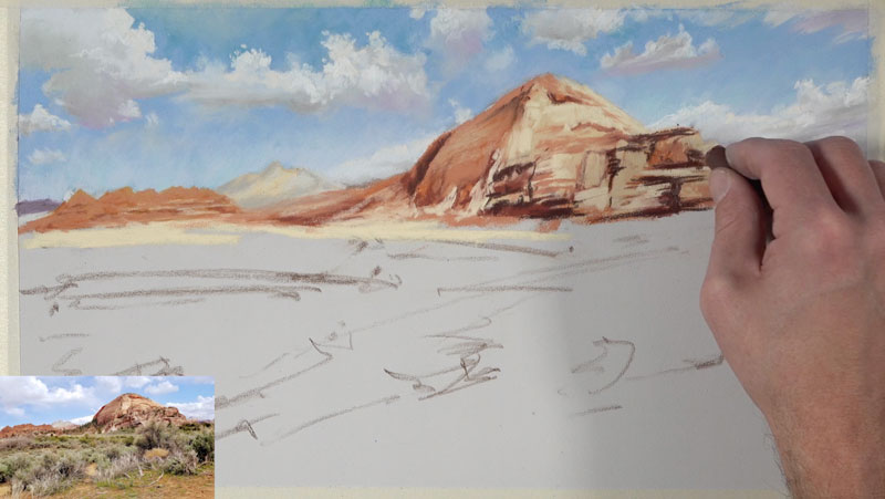 Increasing contrast on distant desert mountains with pastels
