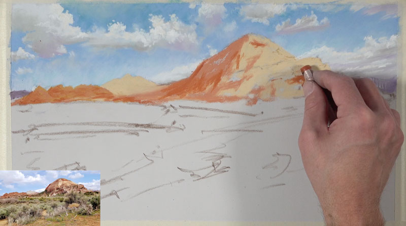 Painting basic shape of color for distant desert mountains