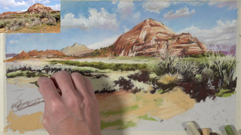 Painting dry brush and vegetation in the desert scene