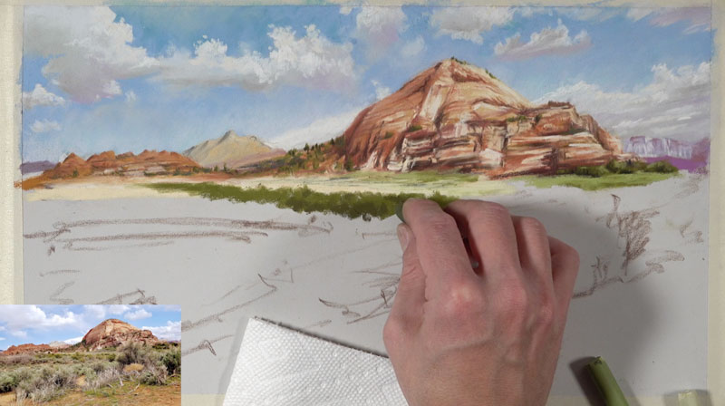 Painting vegetation in the middle ground with pastels