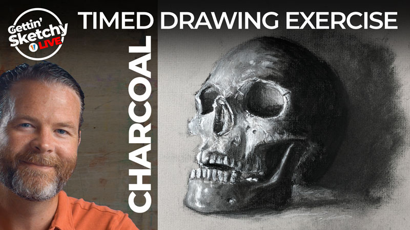 Timed Drawing Exercise - Skull with Charcoal