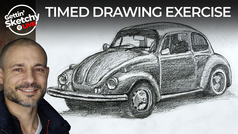 How to Draw a VW Beetle with Pencil