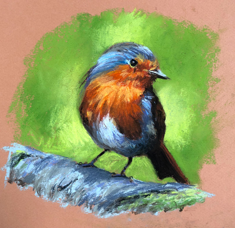 Pastel drawing of a European Robin