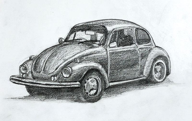 Pencil Drawing VW Bug Beetle
