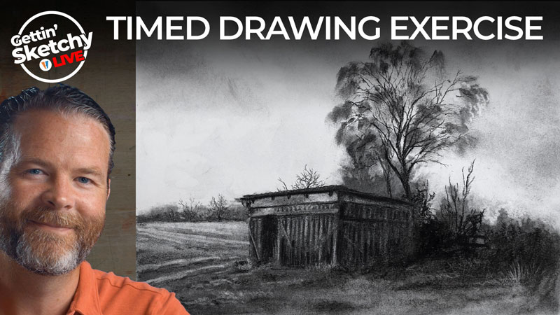 How to draw a landscape with charcoal
