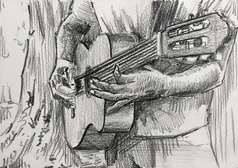 Drawing of a person playing the guitar