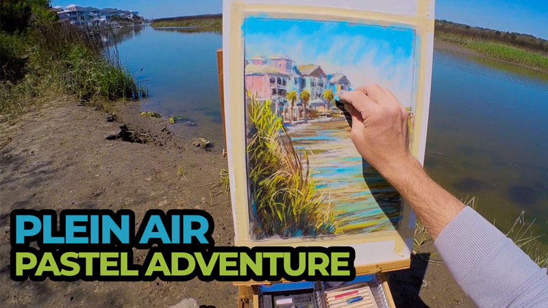 Plein air painting of beach houses and wetlands with pastels