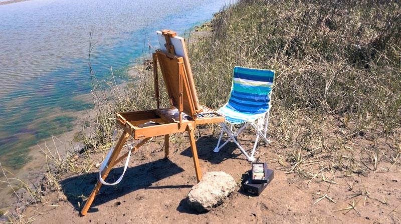 Pleain air painting supplies easel chair pastels