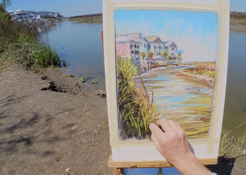Drawing grasses in the foreground