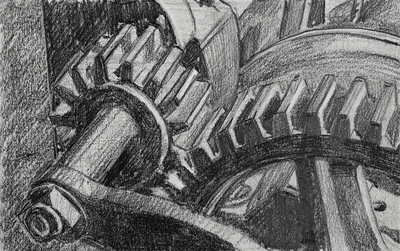 Pencil drawing of gears