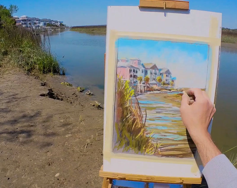 Painting docks with pastels
