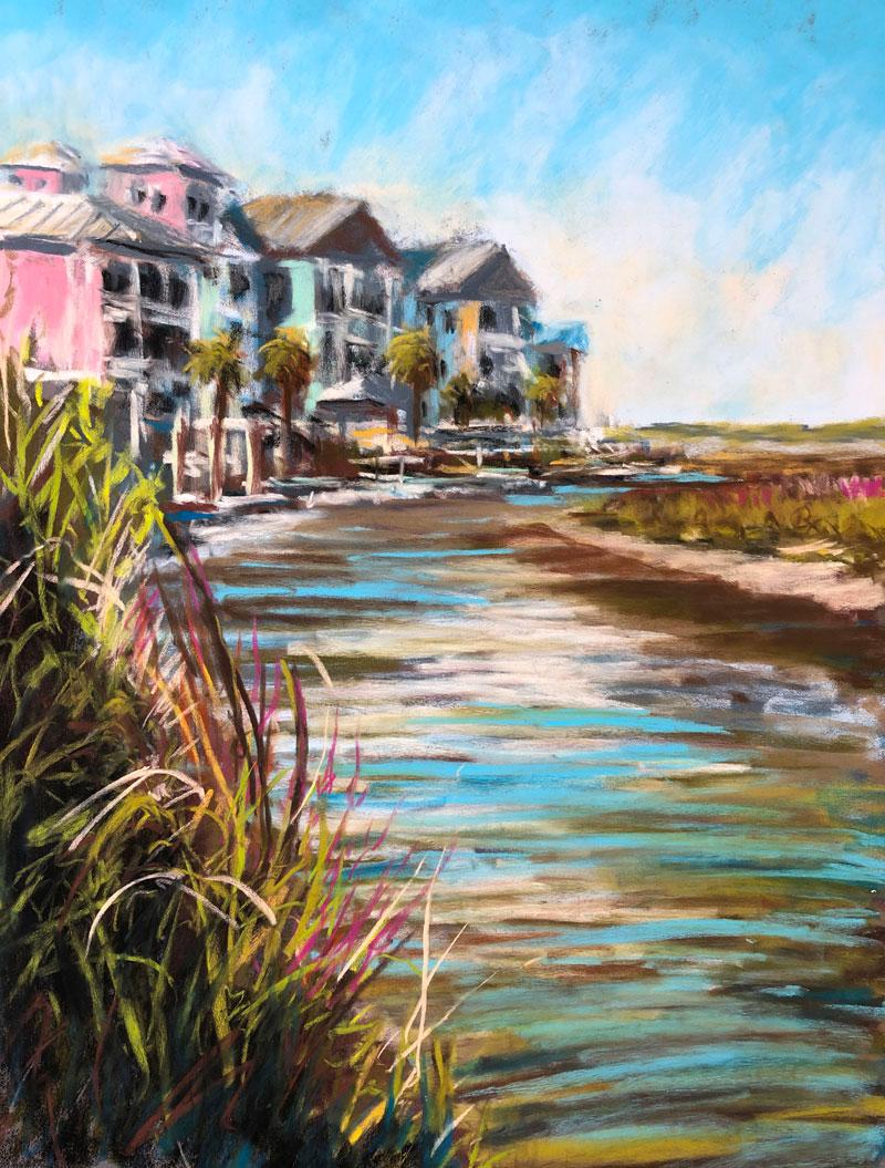 Plein Air Pastel Painting - Ocean Inlet