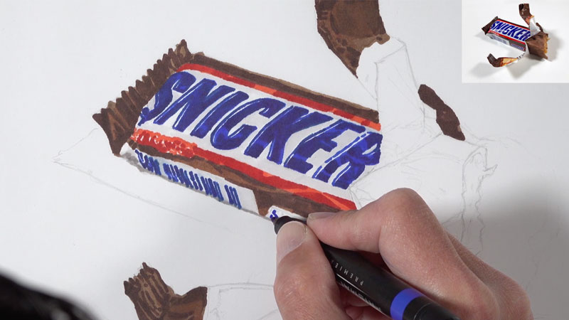 Initial applications of marker to create an underpainting