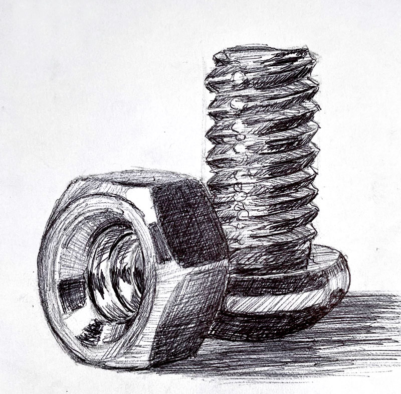 Ball point pen drawing of nuts and bolts
