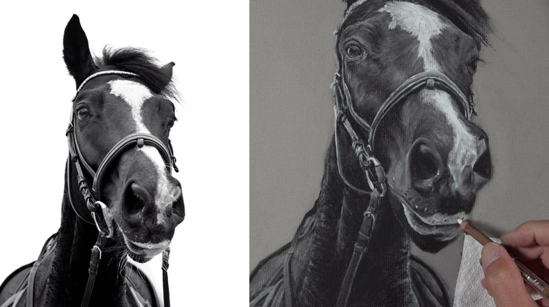 Refining details on the snout of the horse