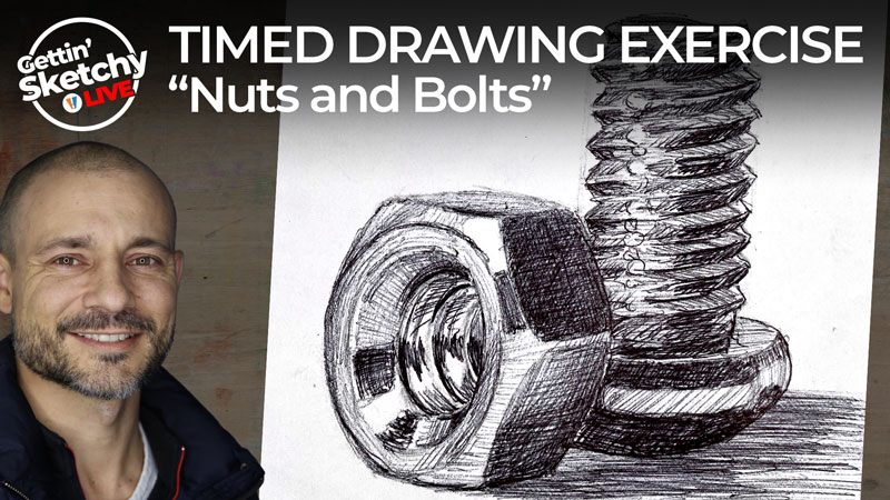 Nuts and bolts with ball point pen - timed drawing exercise
