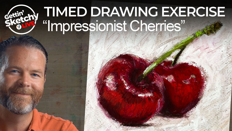 Impressionist Cherry Drawing with Oil Pastels