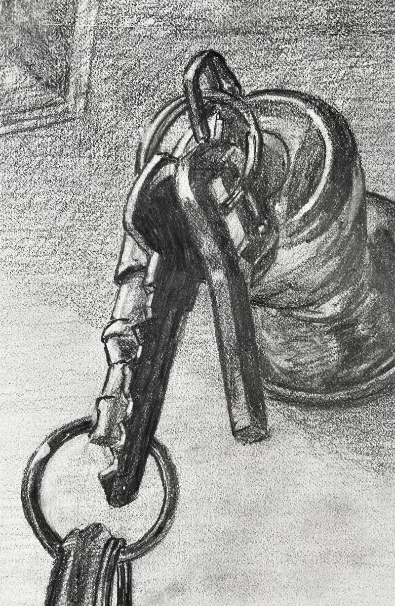 Pencil drawing of a door knob and a set of keys