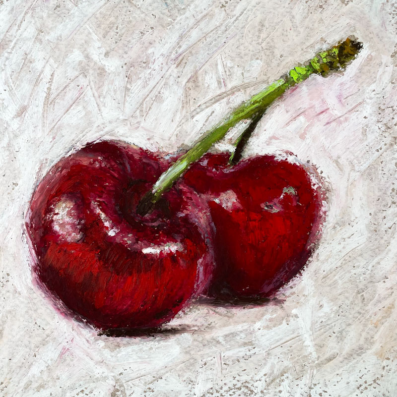 Impressionist Oil Pastel Drawing of Cherries