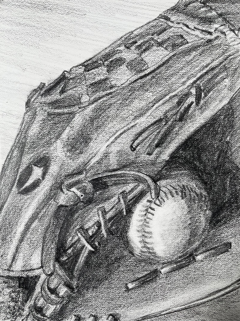 Pencil drawing of a baseball and glove