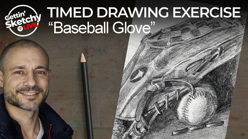 How to draw a baseball glove and ball