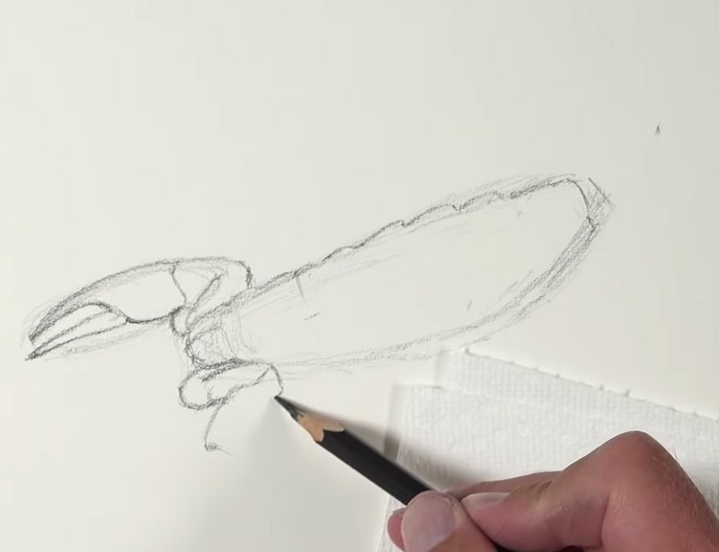 Drawing the basic shapes of the scorpion