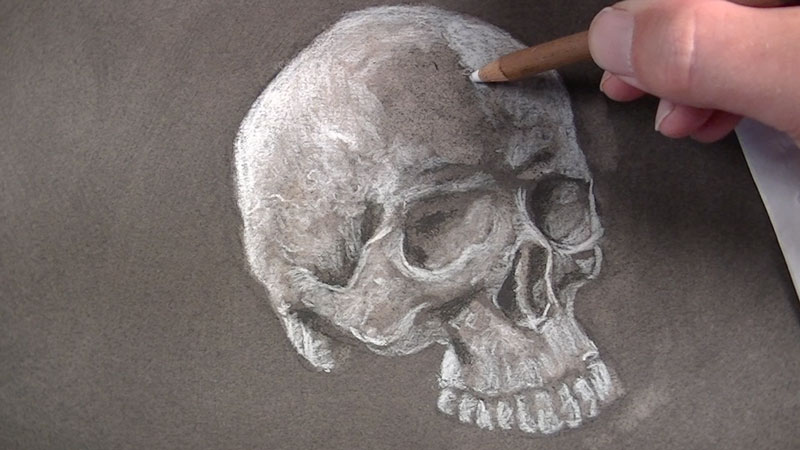 Continue applying white charcoal in highlighted areas.