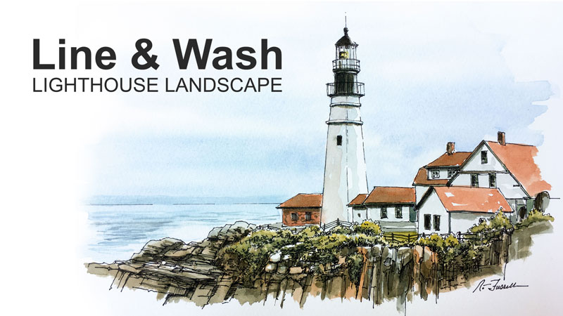 Line and Wash Lighthouse Drawing and Painting