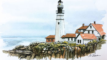 Line and Wash Lighthouse